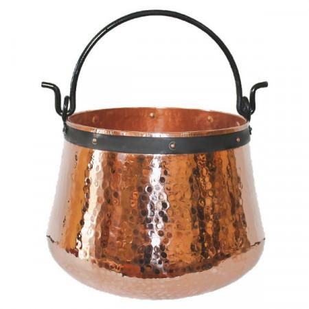 Ceaun Traditional, Cupru Masiv, Toarta Fier Forjat, 100 Litri