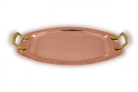 Tava Ovala din Cupru pentru Servit cu Manere din Bronz, Nr.2, 40x27cm