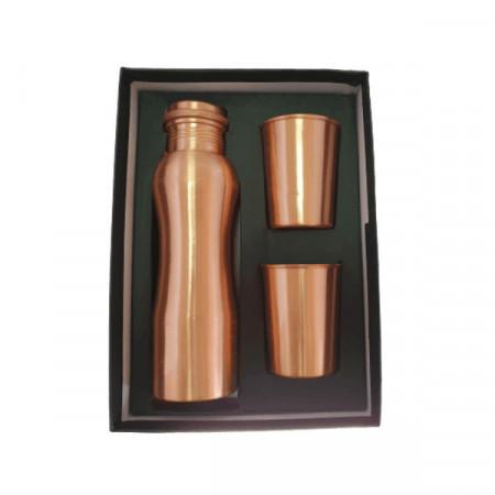 Set Cadou Efect Lucios - Sticla din Cupru 900ml +2 Pahare 200ml Alcalinizarea Apei, Ayurveda