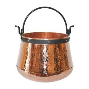 Ceaun Traditional, Cupru Masiv, Toarta Fier Forjat, 15 Litri