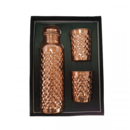 Set Cadou Efect Diamant Fagure - Sticla din Cupru 900ml +2 Pahare 200ml Alcalinizarea Apei, Ayurveda