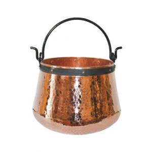 Ceaun Traditional, Cupru Masiv, Toarta Fier Forjat, 60 Litri