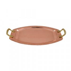 Tava Ovala din Cupru pentru Servit cu Manere din Bronz, Nr.1, 34x25cm