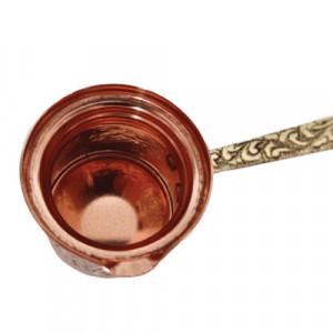Ibric Cafea din Cupru Solid Gravat, 310ml, Maner Bronz, Elit N5