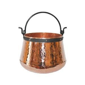 Ceaun Traditional, Cupru Masiv, Toarta Fier Forjat, 10 Litri