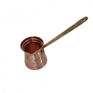 Ibric Cafea din Cupru Solid Gravat, 250ml, Maner Bronz, Elit N4