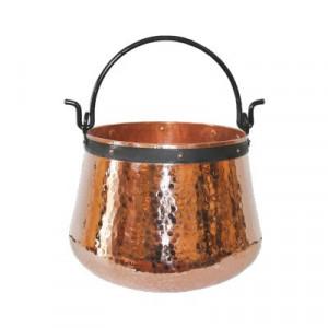 Ceaun Traditional, Cupru Masiv, Toarta Fier Forjat, 20 Litri