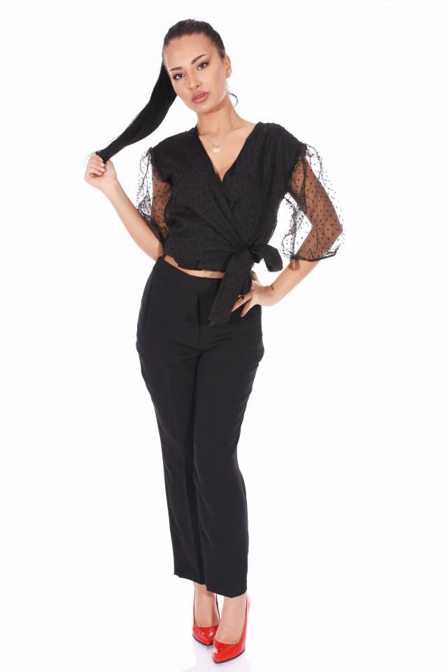 Bluza eleganta cu maneci bufante si dublura de organza- negru -