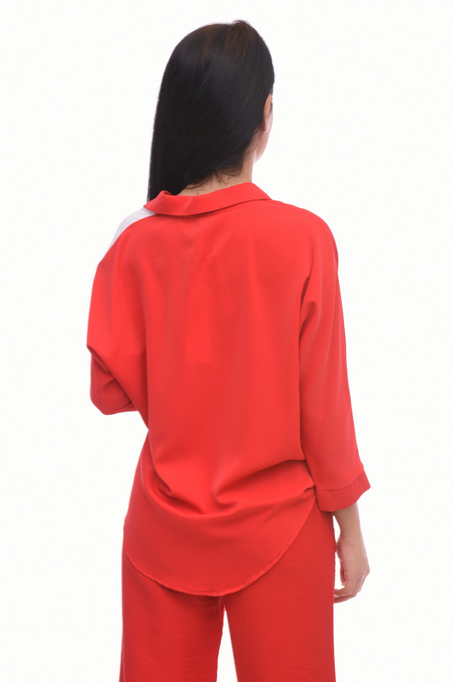 Camasa dama casual in doua culori si imprimeu