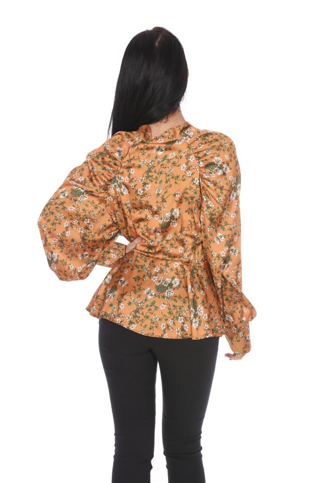 Camasa eleganta satinata cu imprimeu floral- mustar-
