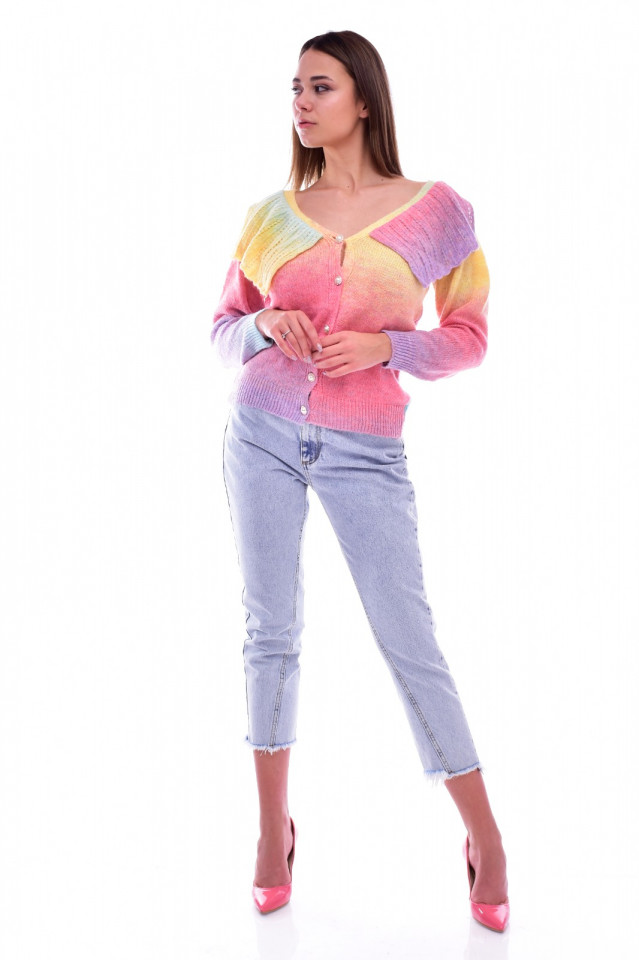 Cardigan dama multicolor cu nasturi si volan