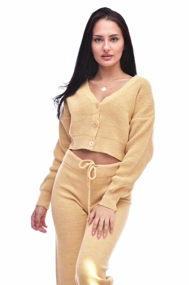 Compleu dama ELLA din tricot - doua piese- mustar