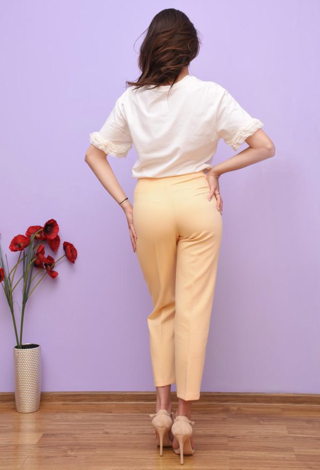 Pantaloni dama chino cu talie inalta - galben