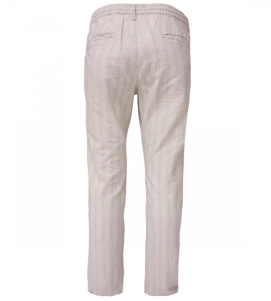 Pantaloni din in cu dungi -bej