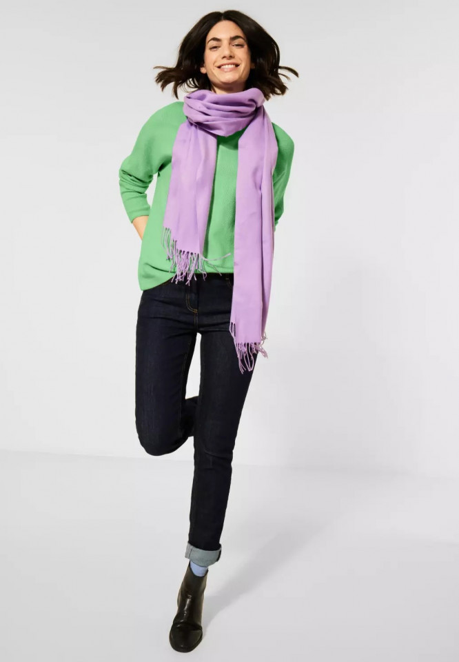 Pulover texturat cu nasturi pe spate - verde neon