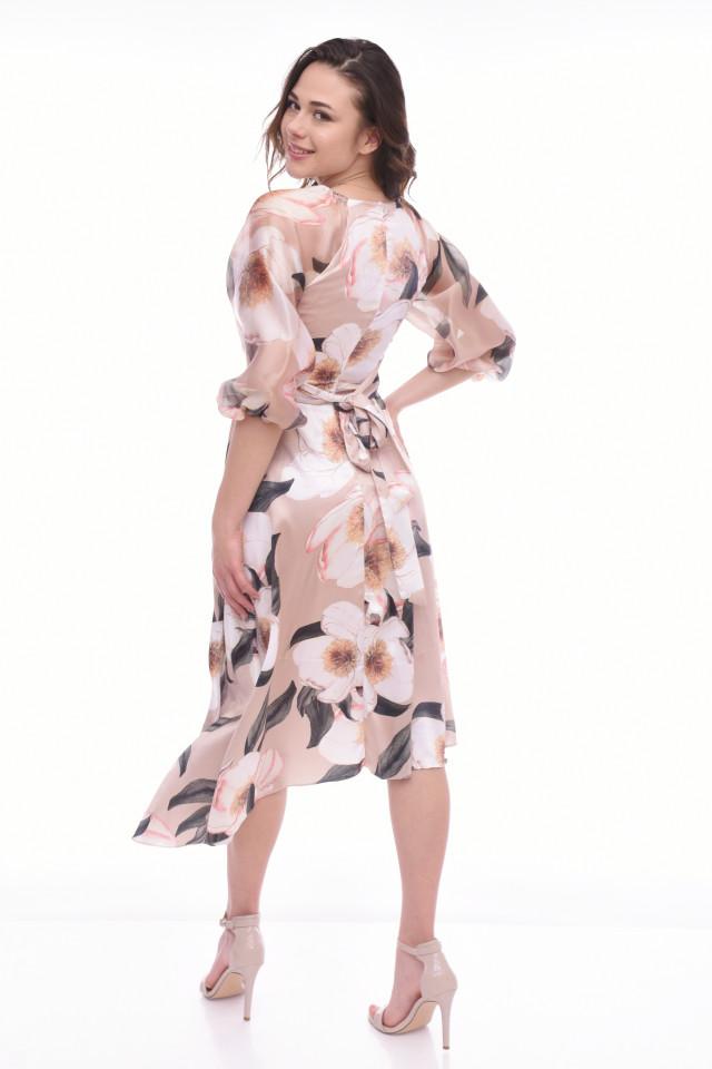 Rochie asimetrica eleganta -FLORA-bej-