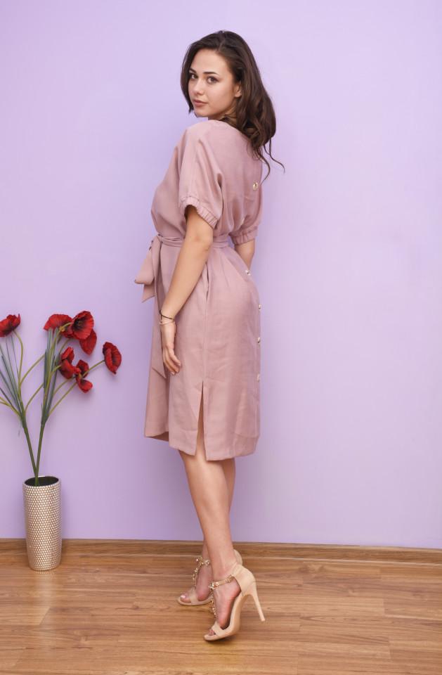 Rochie dama midi de vara cu cordon in talie curea -Flavia-roz prafuit