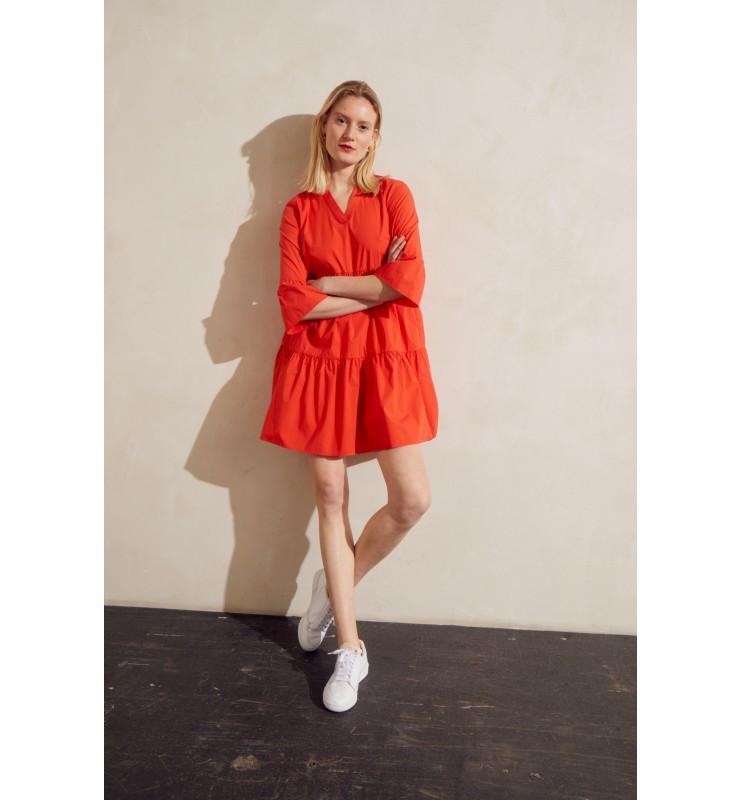 Rochie din bumbac-rosu/portocaliu-
