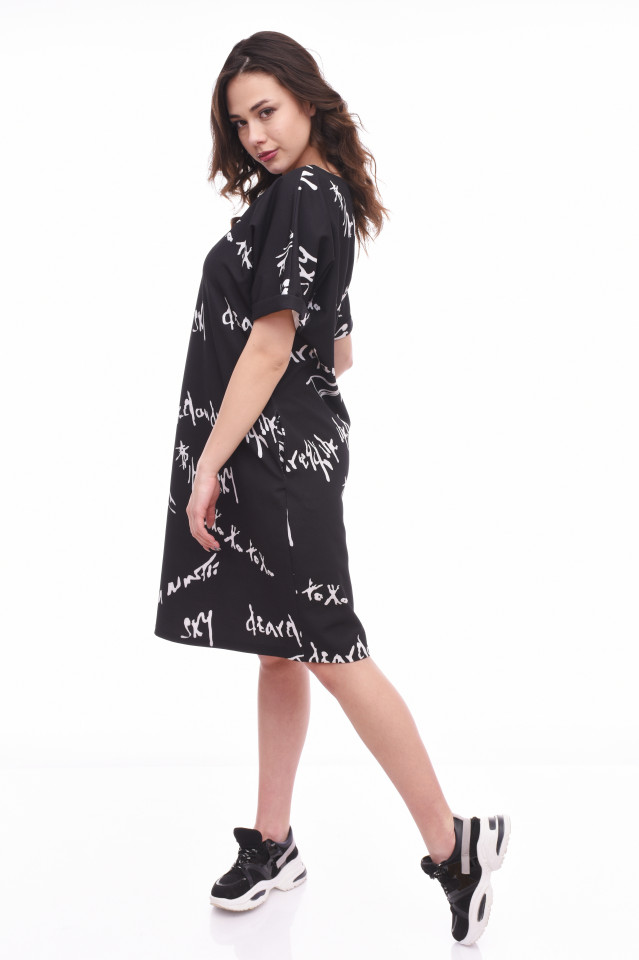 Rochie midi casual cu imprimeu Margo - negru-