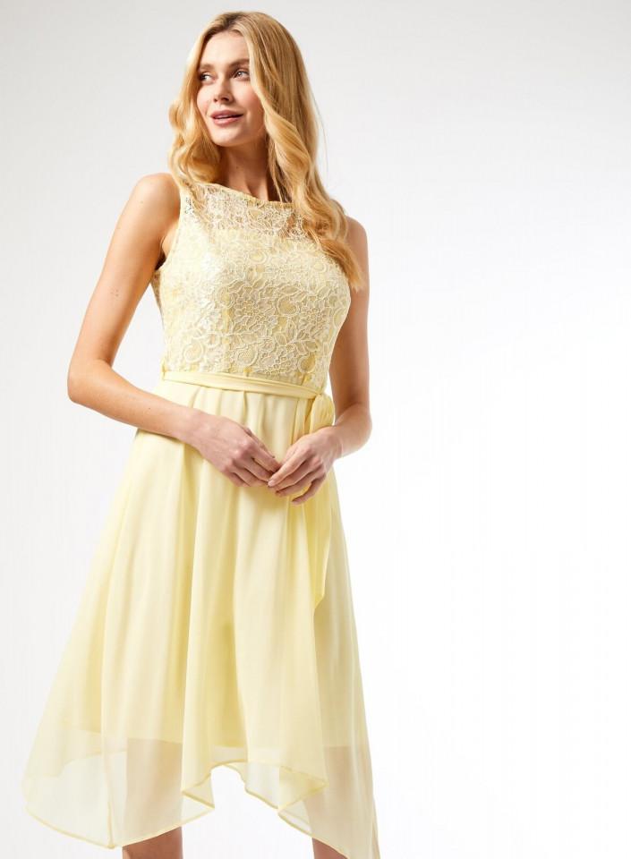 Rochie midi eleganta cu dantela si voal- galben-E