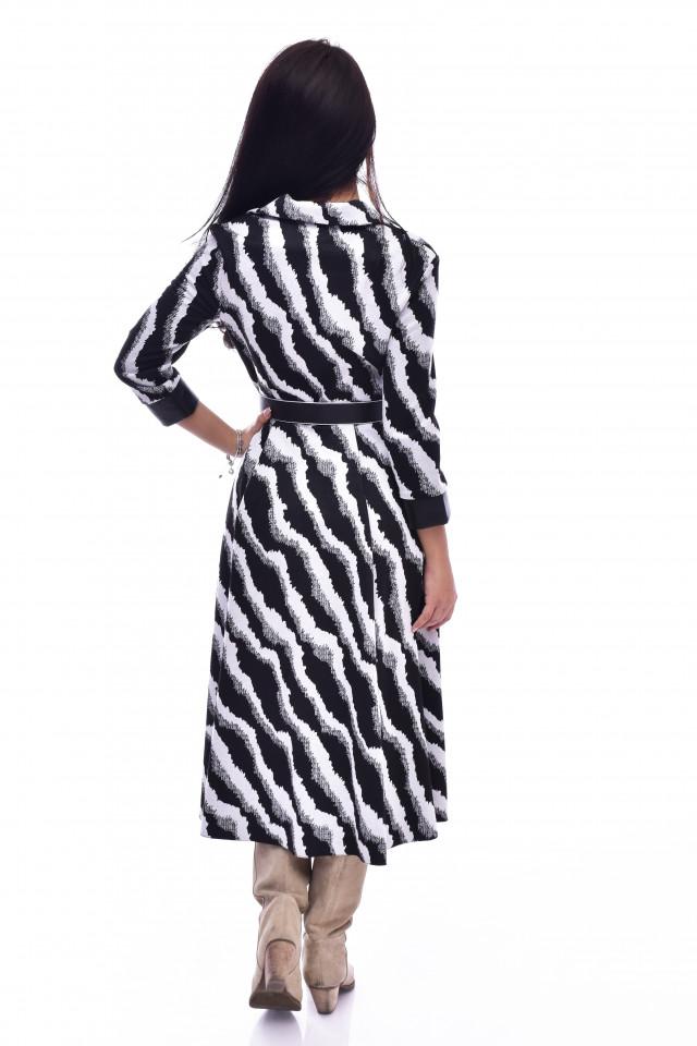 Rochie midi eleganta cu imprimeu - alb/negru
