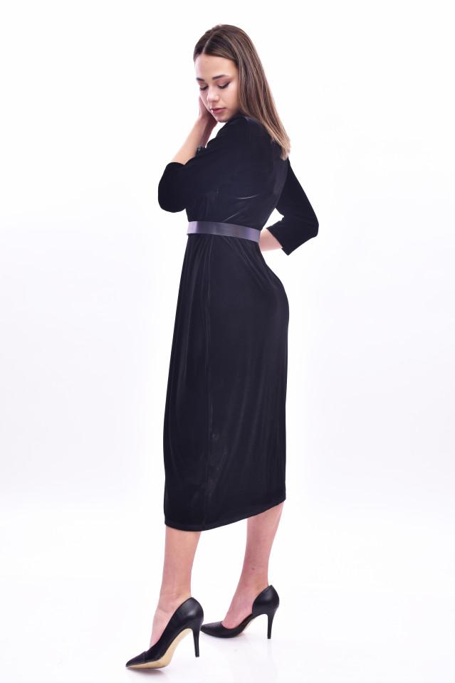 Rochie midi eleganta din catifea - negru