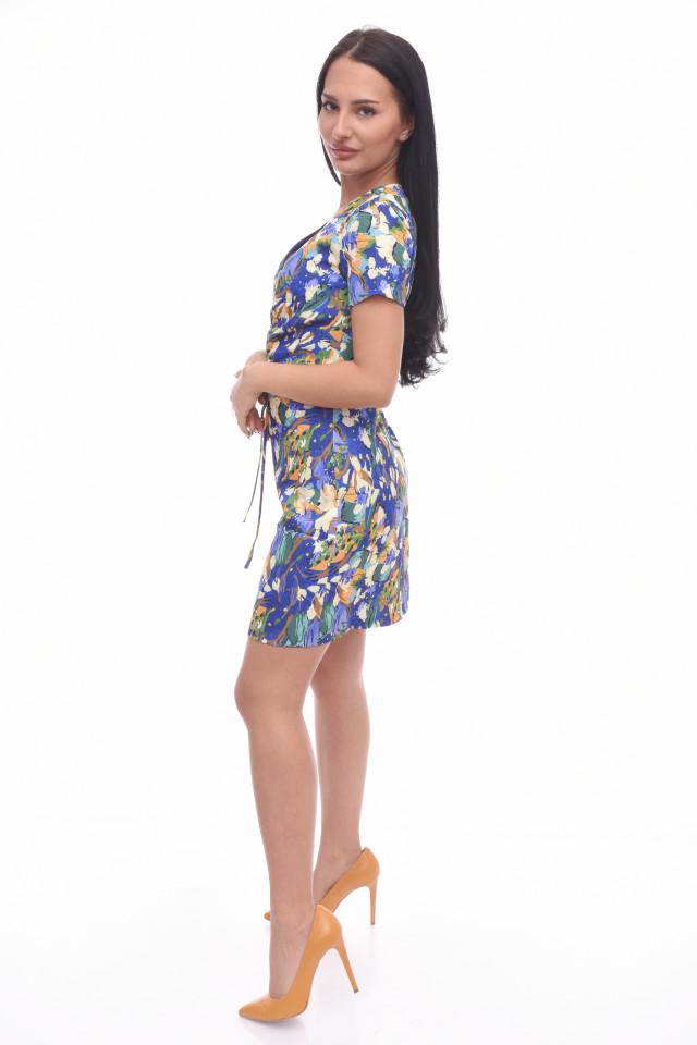 Rochie mini de zi bodycone cu imprimeu floral muticolor