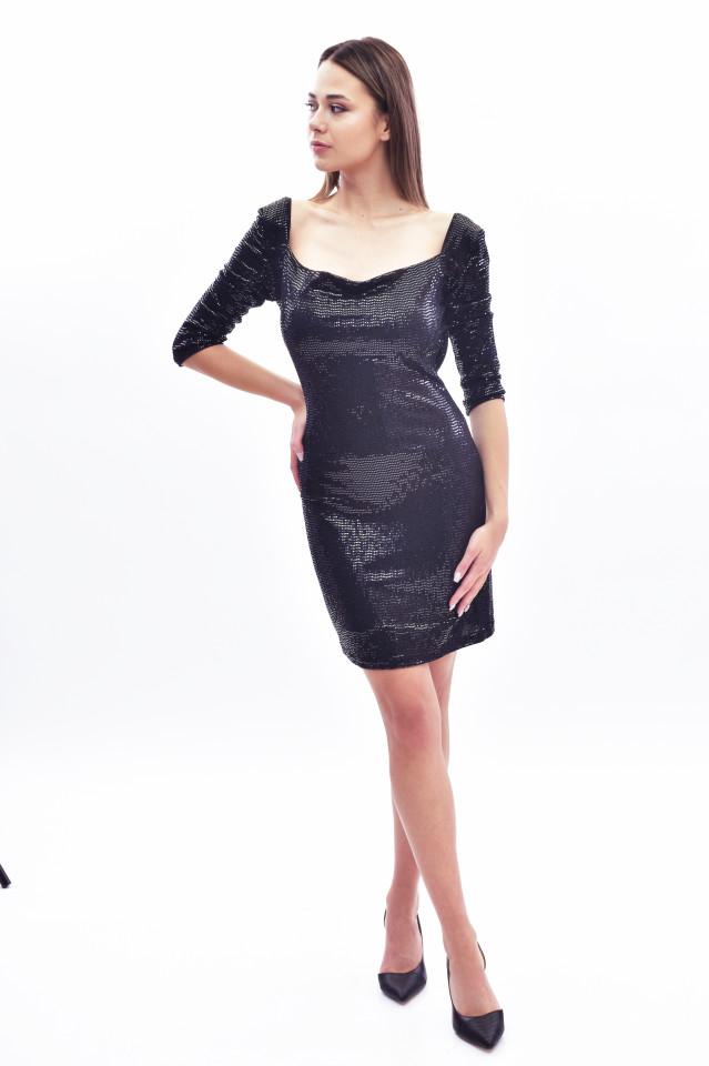 Rochie mini eleganta cu paiete si sclipici - negru