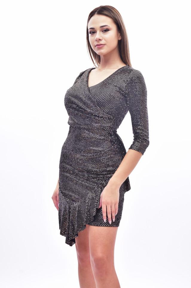 Rochie mini eleganta cu paiete si volane - maro