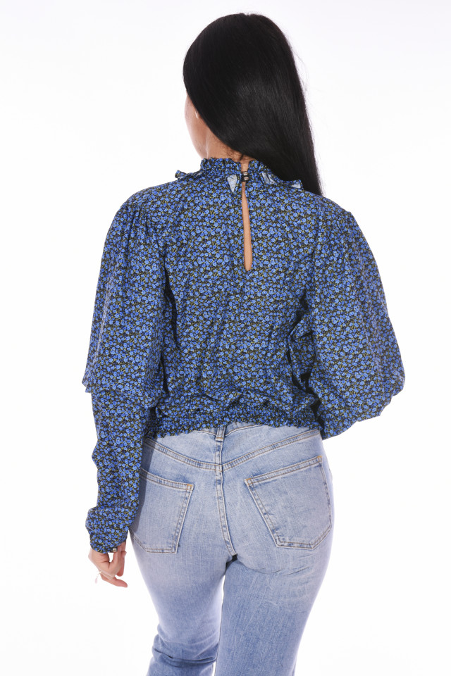 Bluza cu guler inalt si imprimeu floral-albastru-