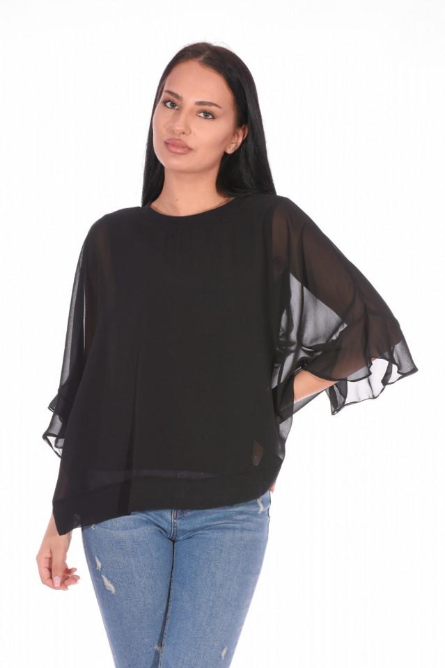 Bluza eleganta cu un croi mulat suprapunere cu voal-negru-E