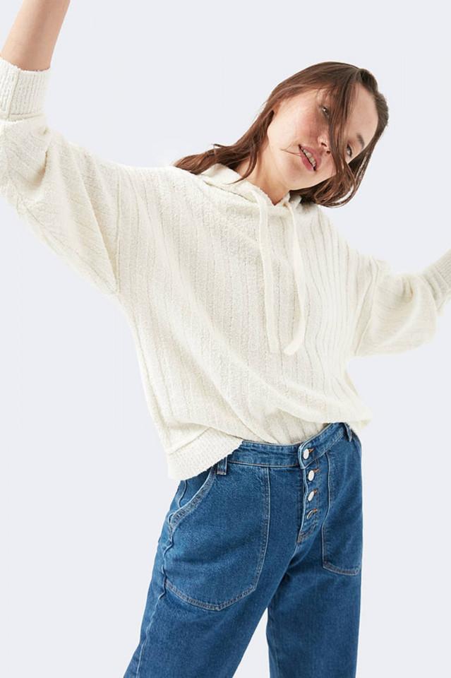 Bluza oversize din tricot cu gluga