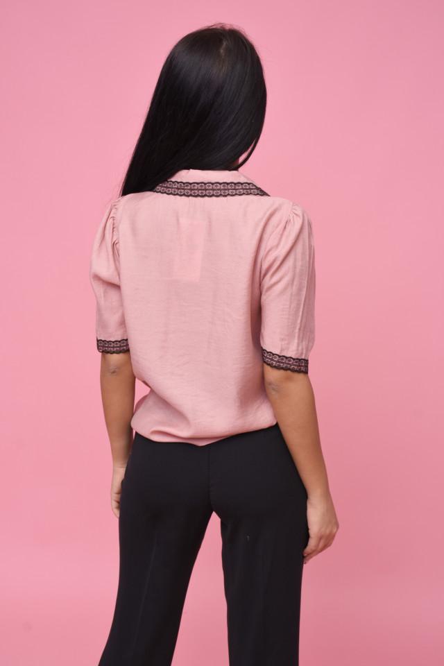 Camasa cu dantela aplicata-roz corai--