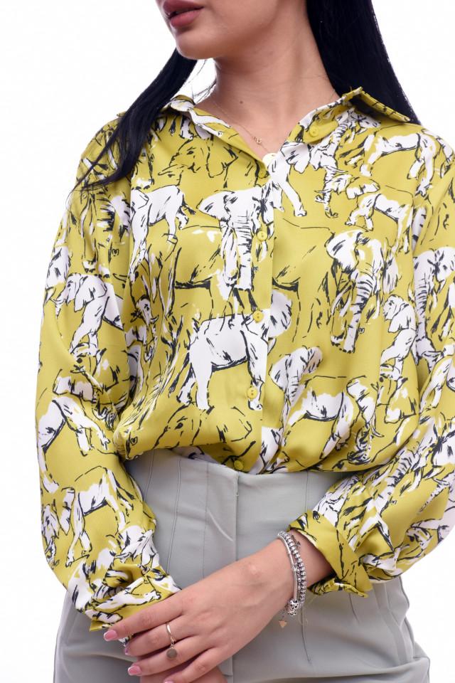 Camasa satinata cu imprimeu KAROL- lime