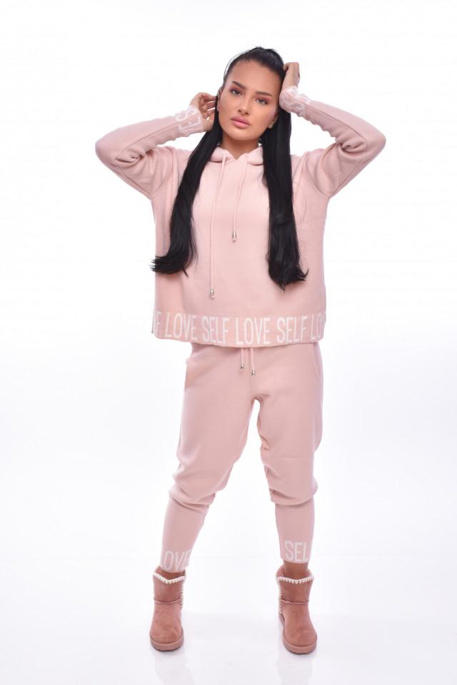 Compleu dama Sonia din doua piese din tricot roz prafuit