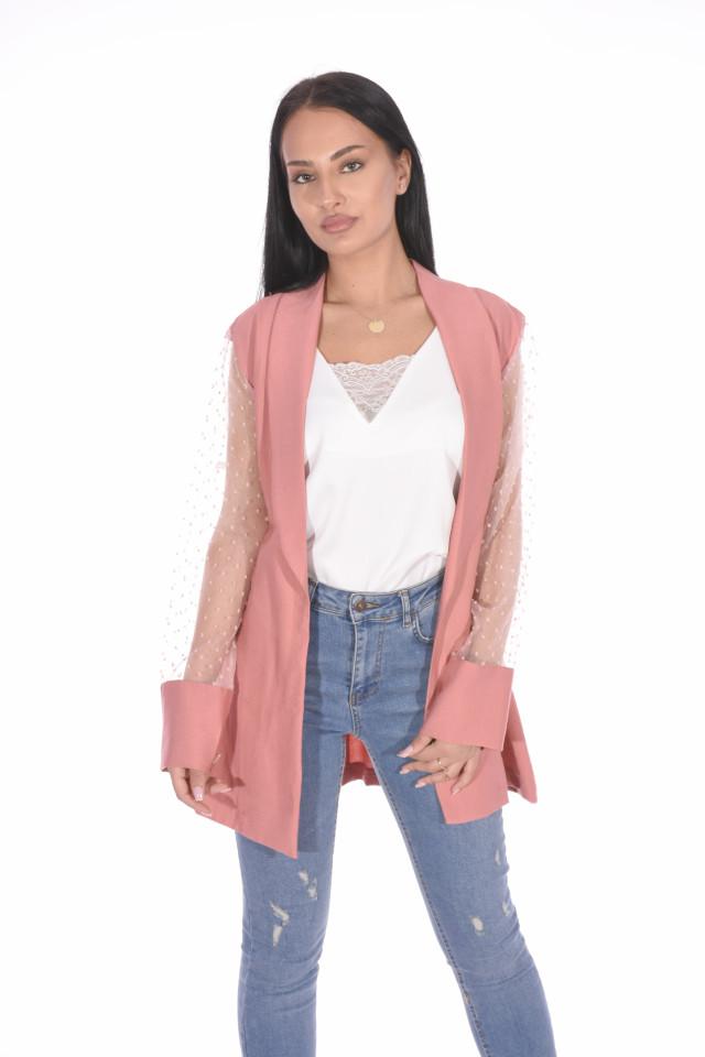Jacheta/blazer cu maneci din tull-roz corai-