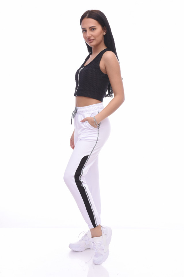 Pantaloni dama sport Lara - alb -