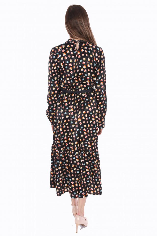 Rochie lunga satinata cu imprimeu si curea ( negru )