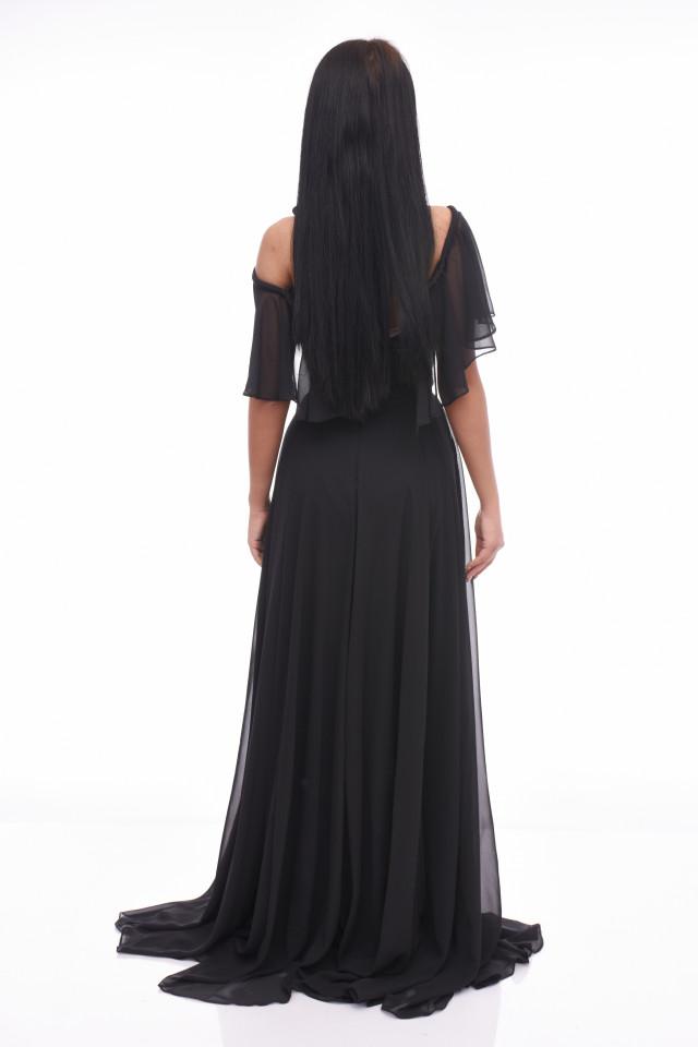 Rochie maxi eleganta din voal-negru-