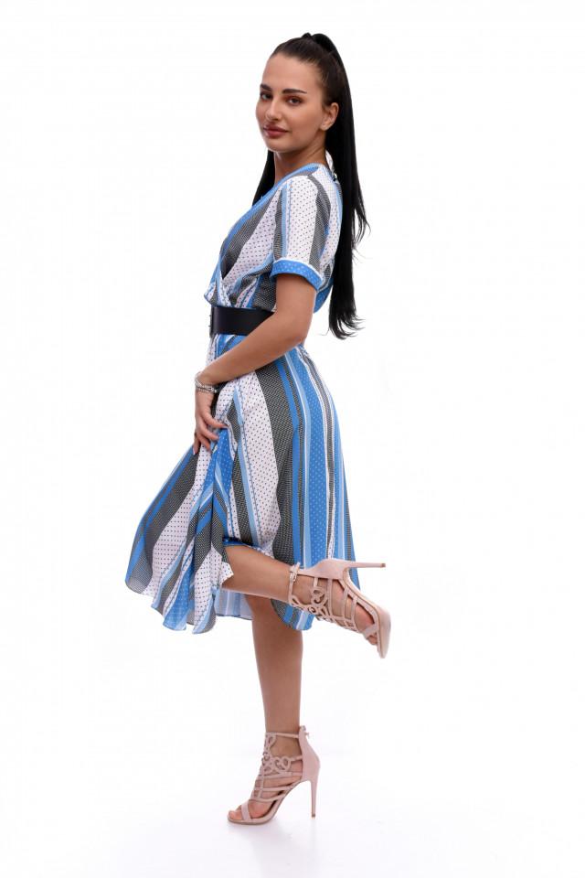Rochie midi cu imprimeu Viana - albastru
