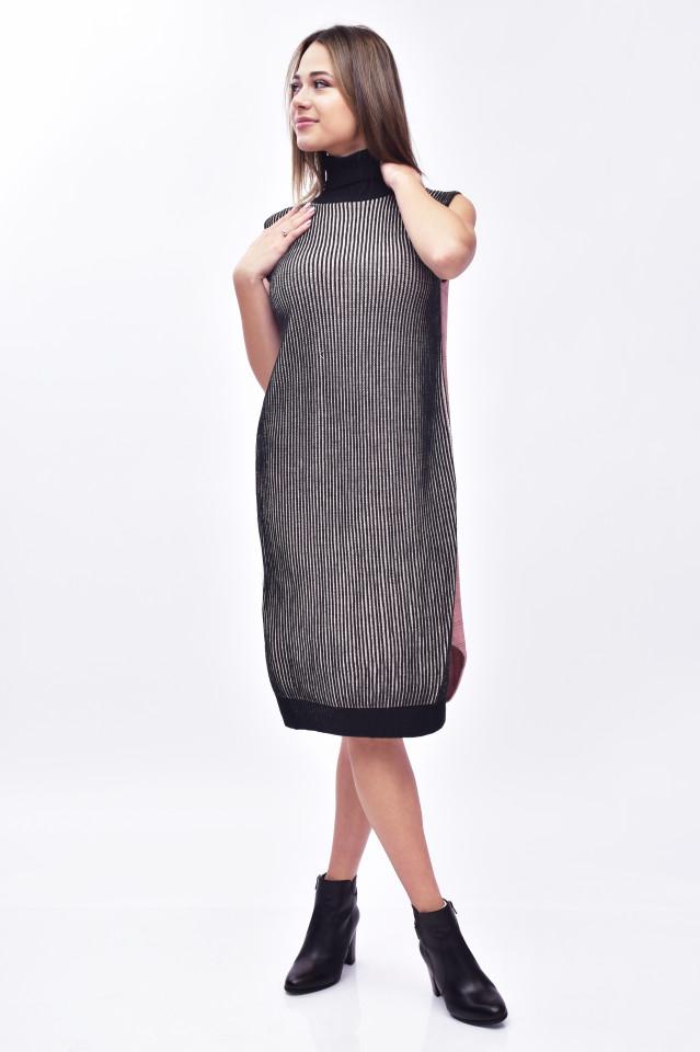 Rochie midi din tricot cu guler inalt-negru/roz