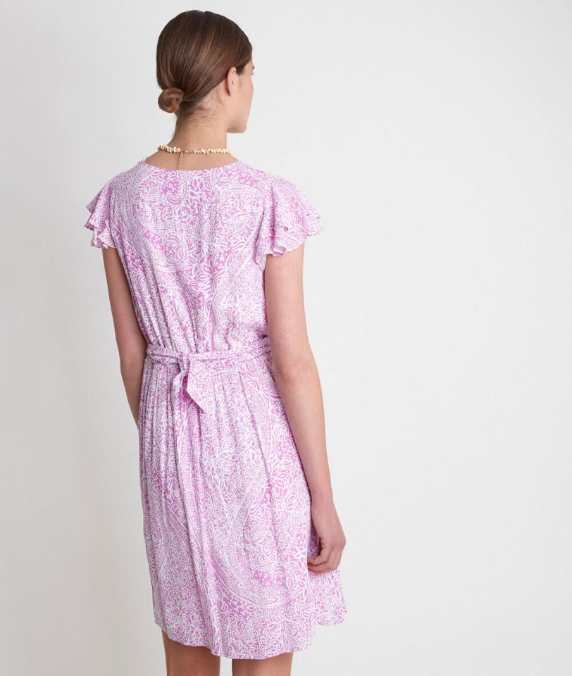 Rochie midi din vascoza cu imprimeu si volane-