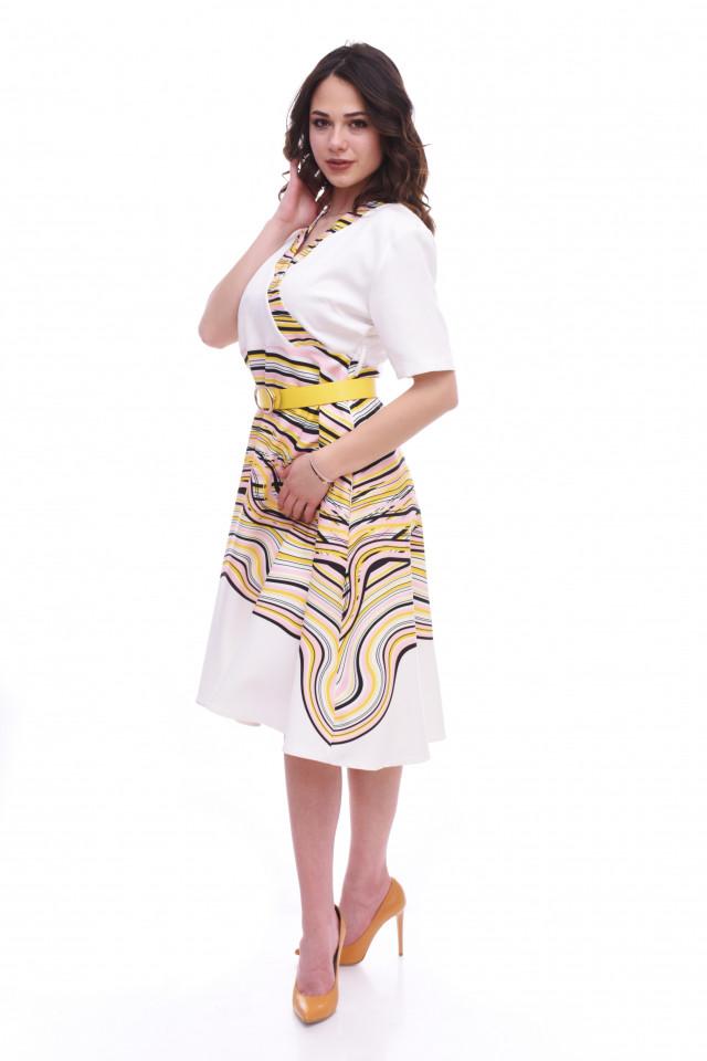 Rochie midi eleganta cu curea- Lara - galben
