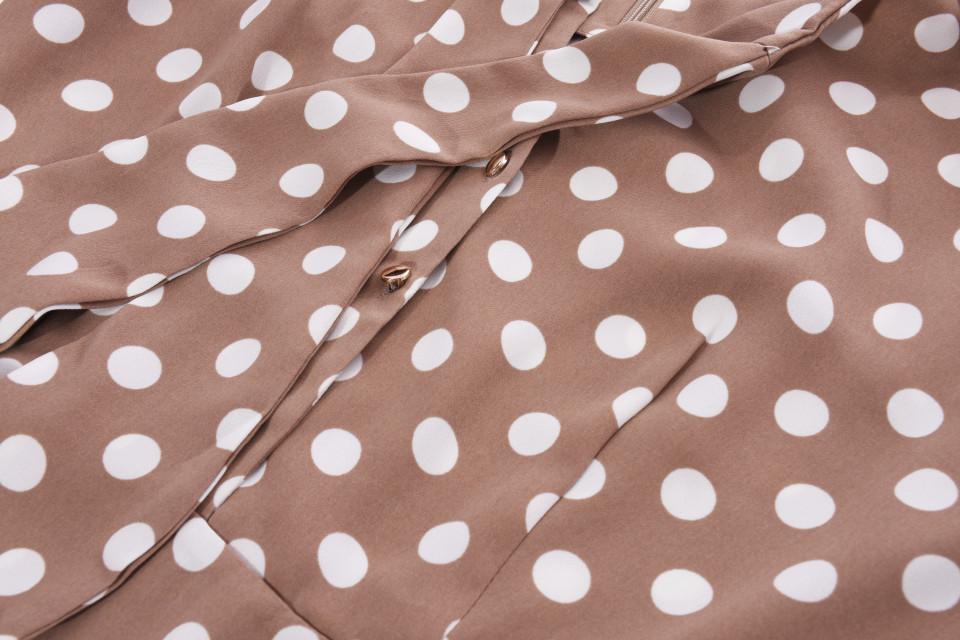 Rochie midi eleganta maro cu buline-E-