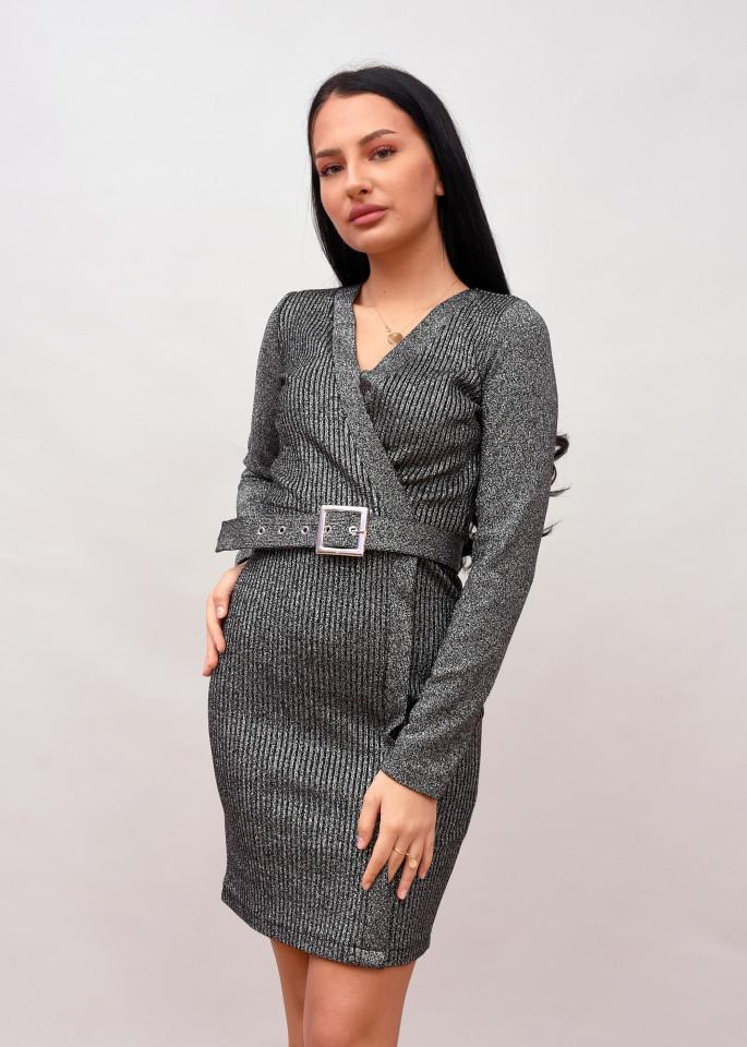 Rochie mini cu sclipici si curea