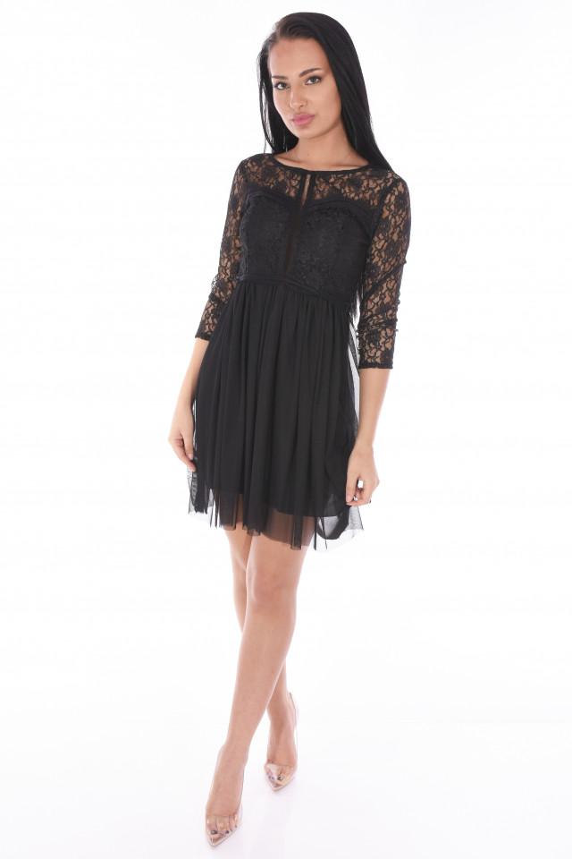 Rochie mini din broderie si tull-negru-E