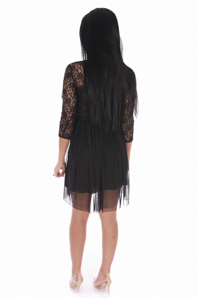 Rochie mini din broderie si tull-negru-
