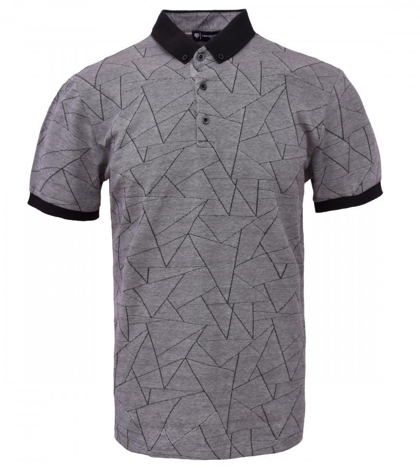 Tricou Polo Barbati Regular Fit Tony Montana- Geometric -gri