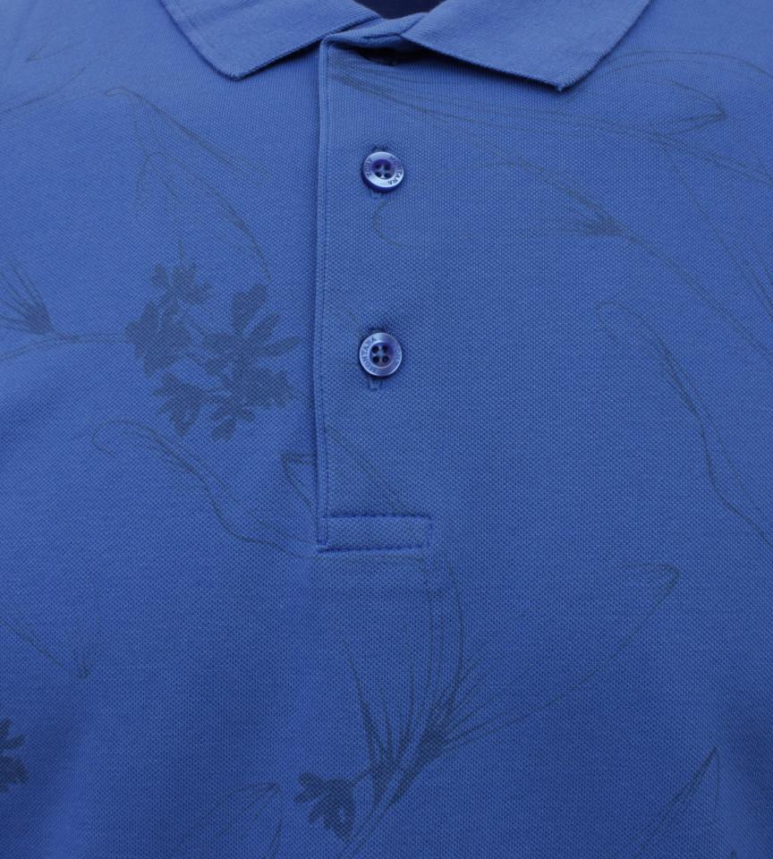Tricou Polo Barbati Regular Fit Tony Montana- Leaf Print-Albastru