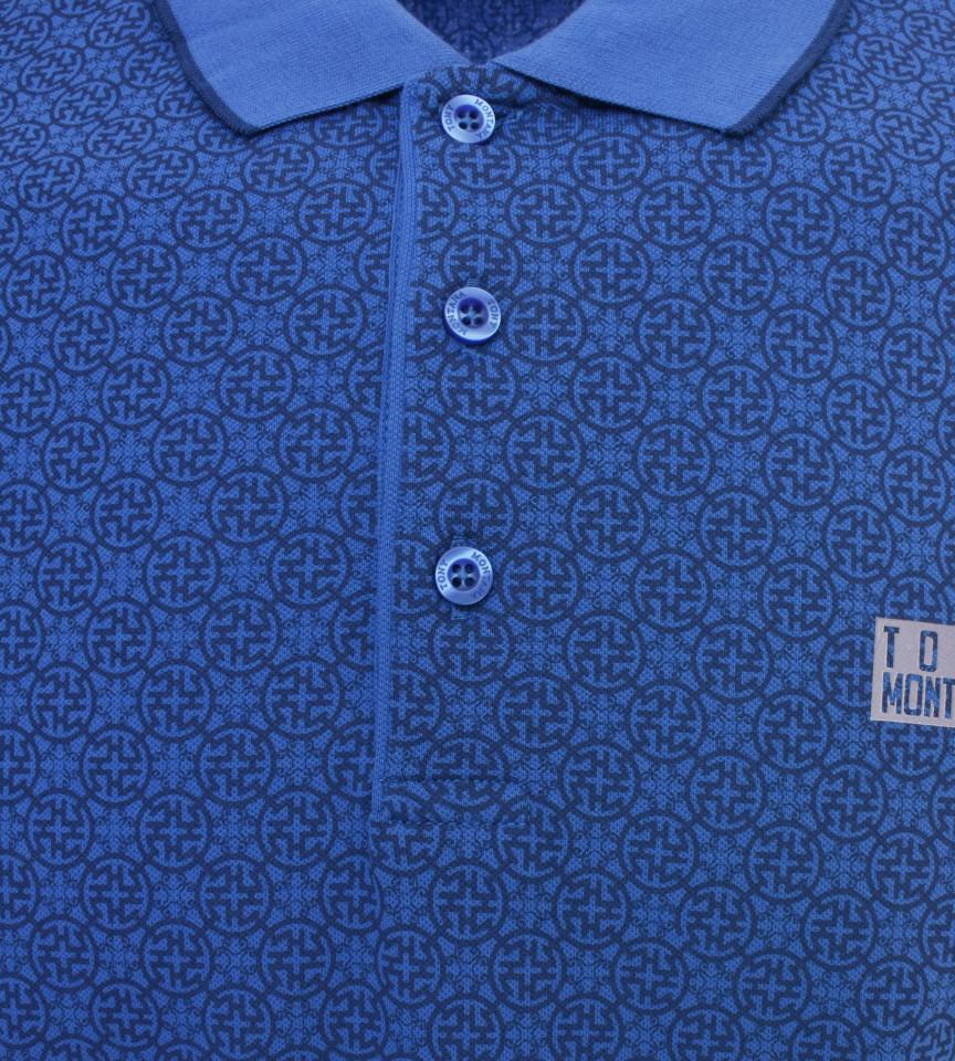 Tricou Polo Barbati Slim Fit Tony Montana cu imprimeu - albastru